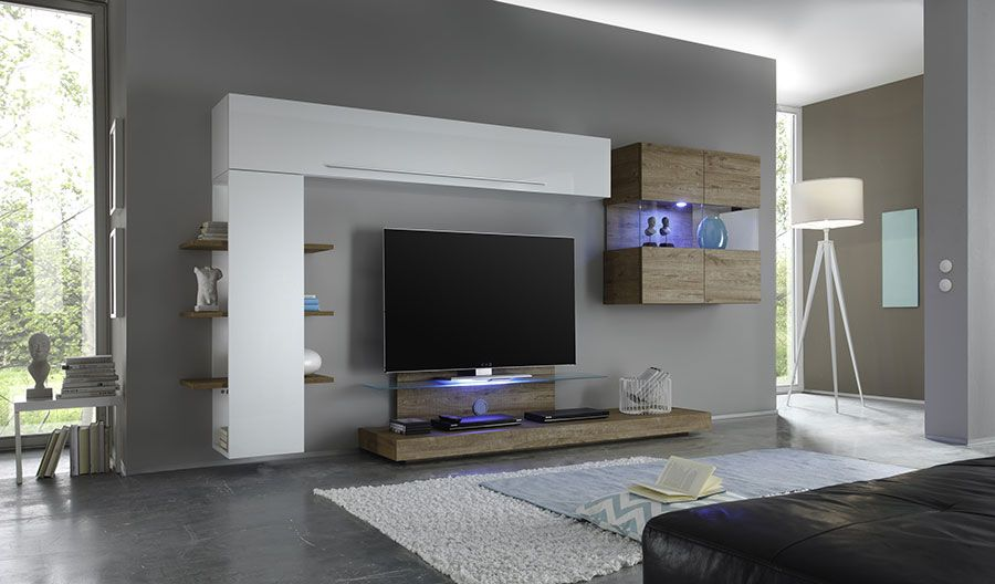 Ensemble meuble tv blanc laqu et ch ne avec clairage led for Ensemble salon moderne