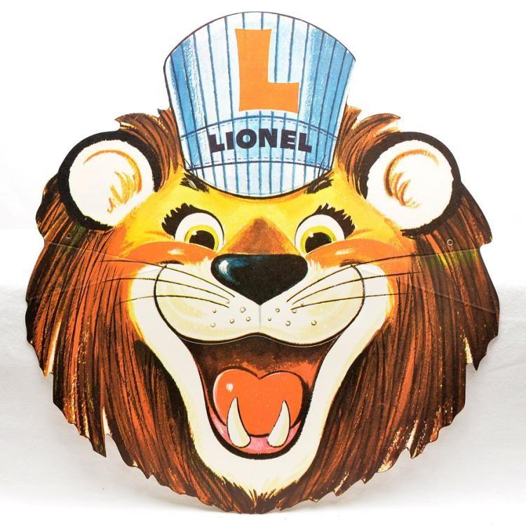 Lionel Postwar Promotional Cardboard Full Color Lionel Lion Mask