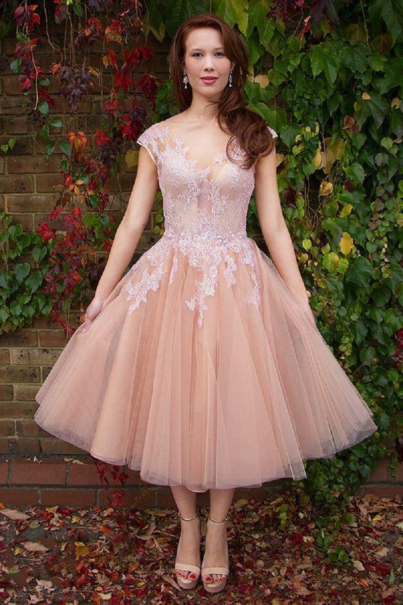 S tea length vintage lace wedding dress cap sleeve puffy bridal