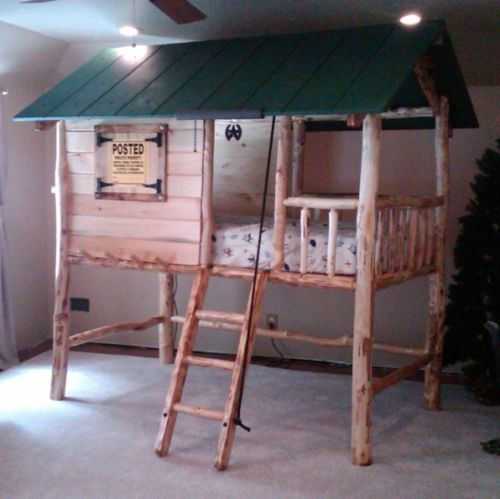 Tree House Log Cabin Custom Made Wooden Bunk Bed Cool