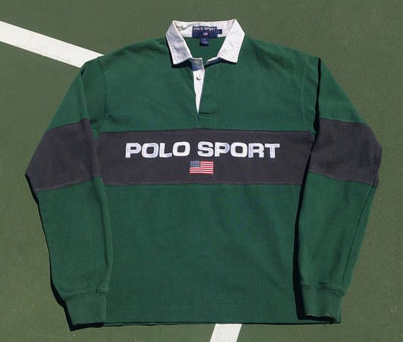 cc7ae72a245 clearance vintage polo sport rugby shirt large green spell out 90s usa polo  by ralph lauren