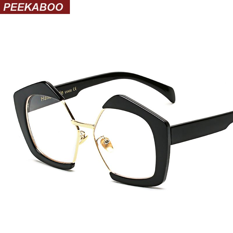 peekaboo 2017 women polygon transparent eyeglasses vintage half metal eyewear frame clear lens glasses female irregular - Womens Metal Eyeglass Frames