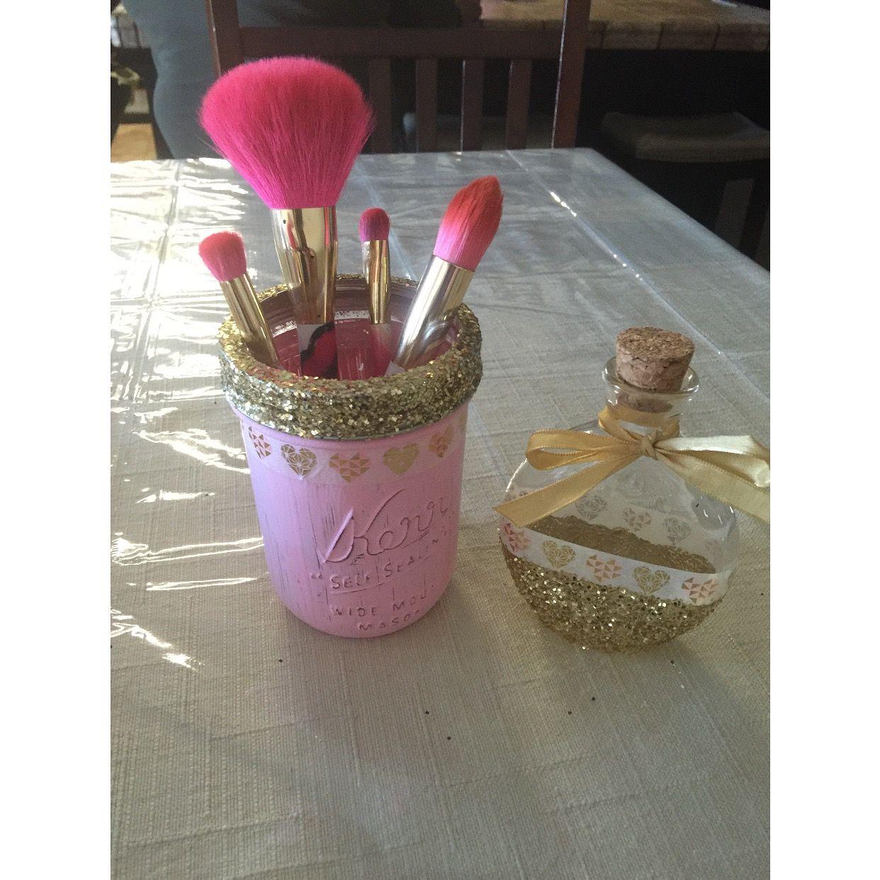 Mason jar brush holder and nail polish remover jar
