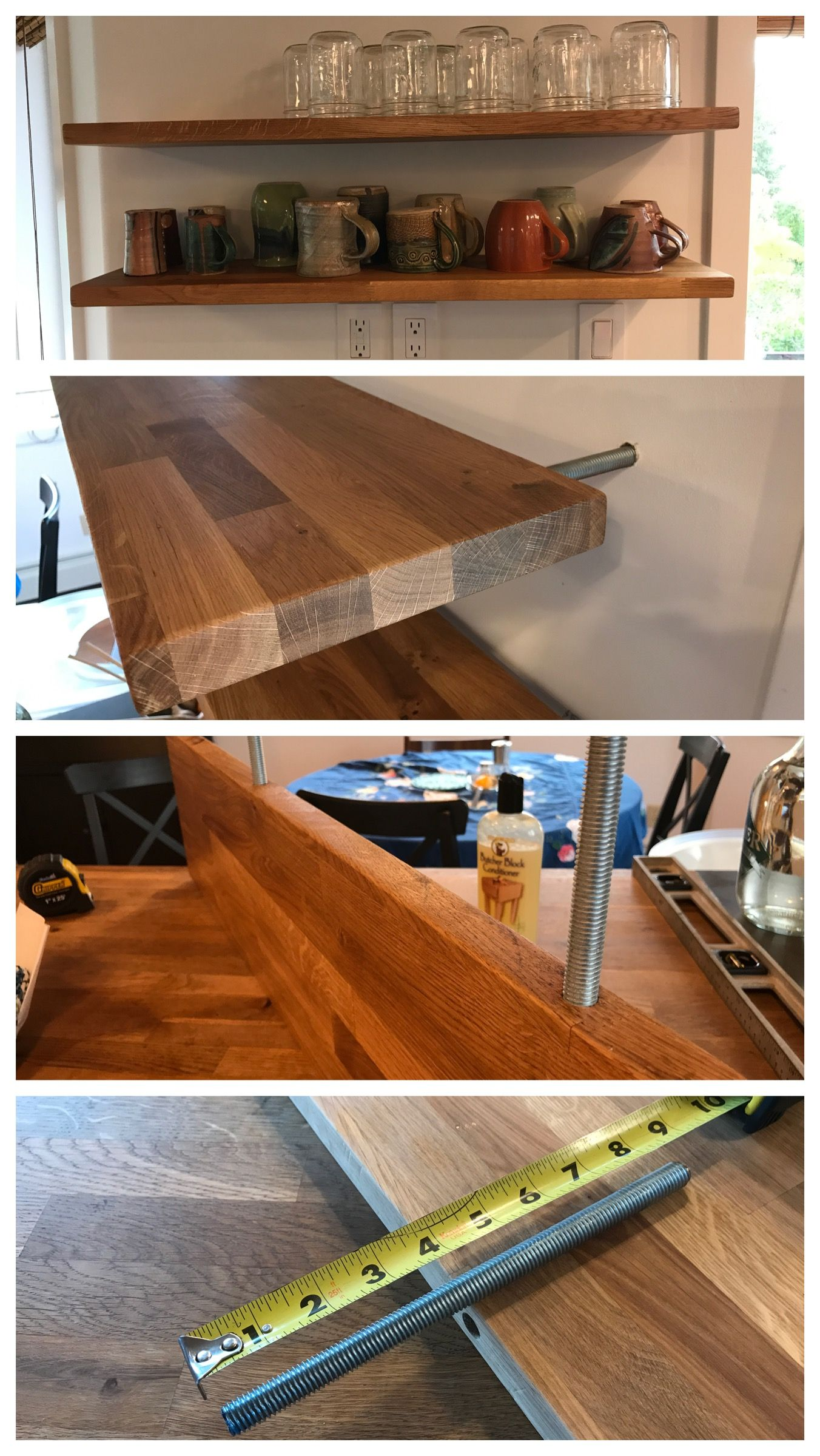 Cheap diy floating shelf using oak counter from Ikea and
