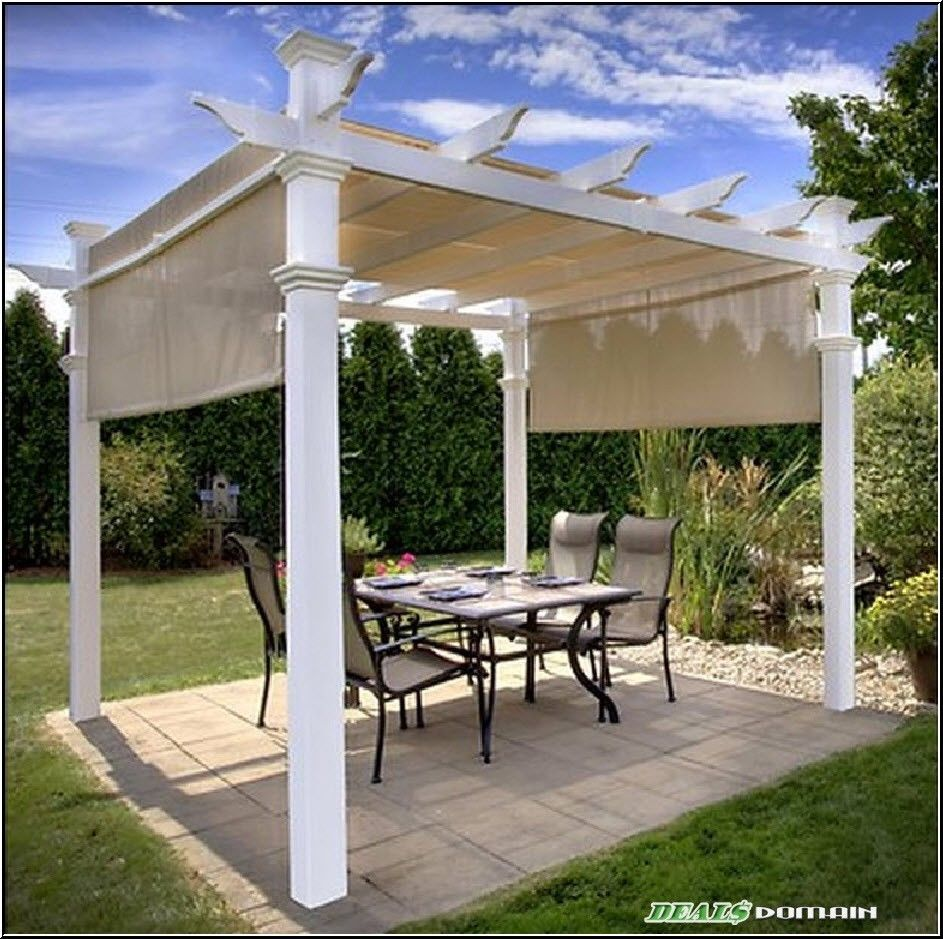 Modern 10x10 Ft Gazebo Pergola Square Canopy White Beige Outdoor Patio Deck Picclick Com Pergola Pergola Patio Retractable Pergola