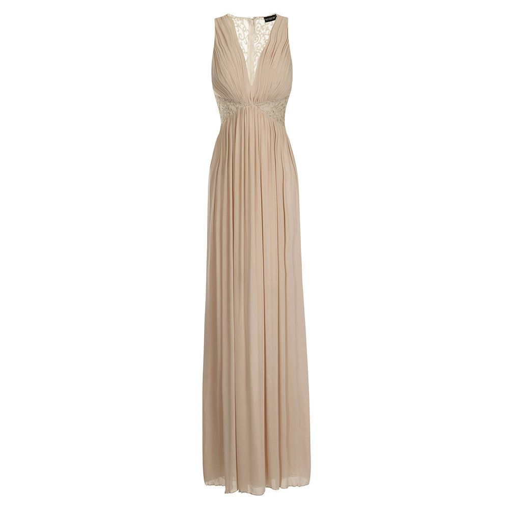 Womens Long Nude Full Length Grecian Lace Maxi Party Prom Evening Dress