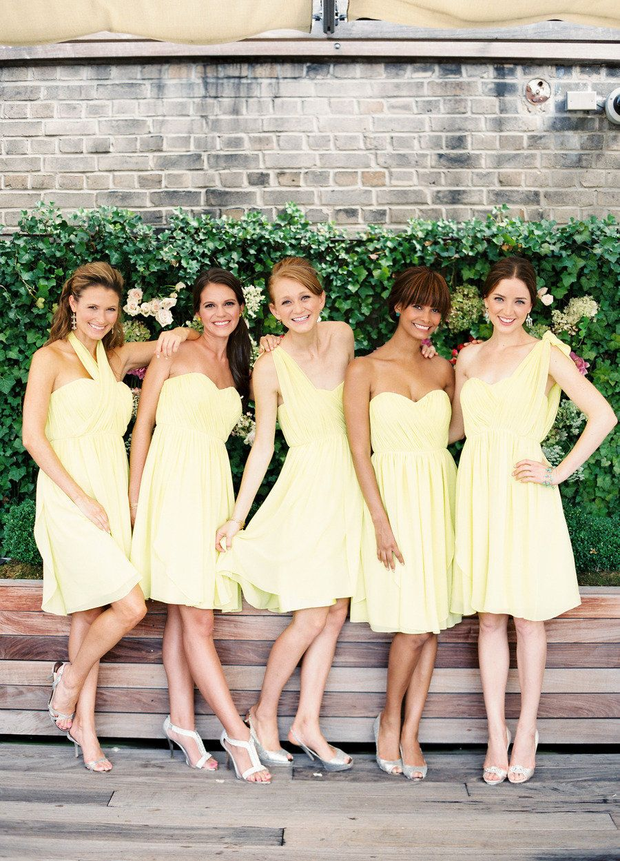Butter yellow bridesmaid dresses love the different tops pale yellow chiffon bridesmaid dresses for a spring wedding by donna morgan via jacot jacot darling me pretty this is exactly what i want to do ombrellifo Image collections