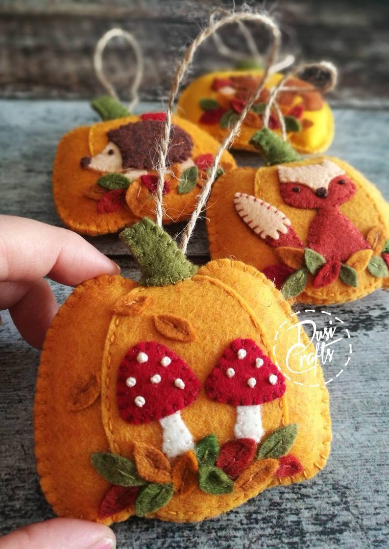 Custom Order For Ann In 2020 Pumpkin Ornaments Felt Ornaments Mushroom Crafts
