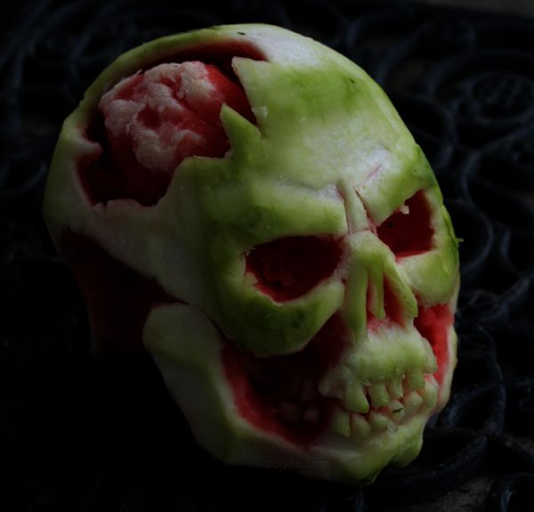 watermelon carving skull brains scary by zogdo halloween fun