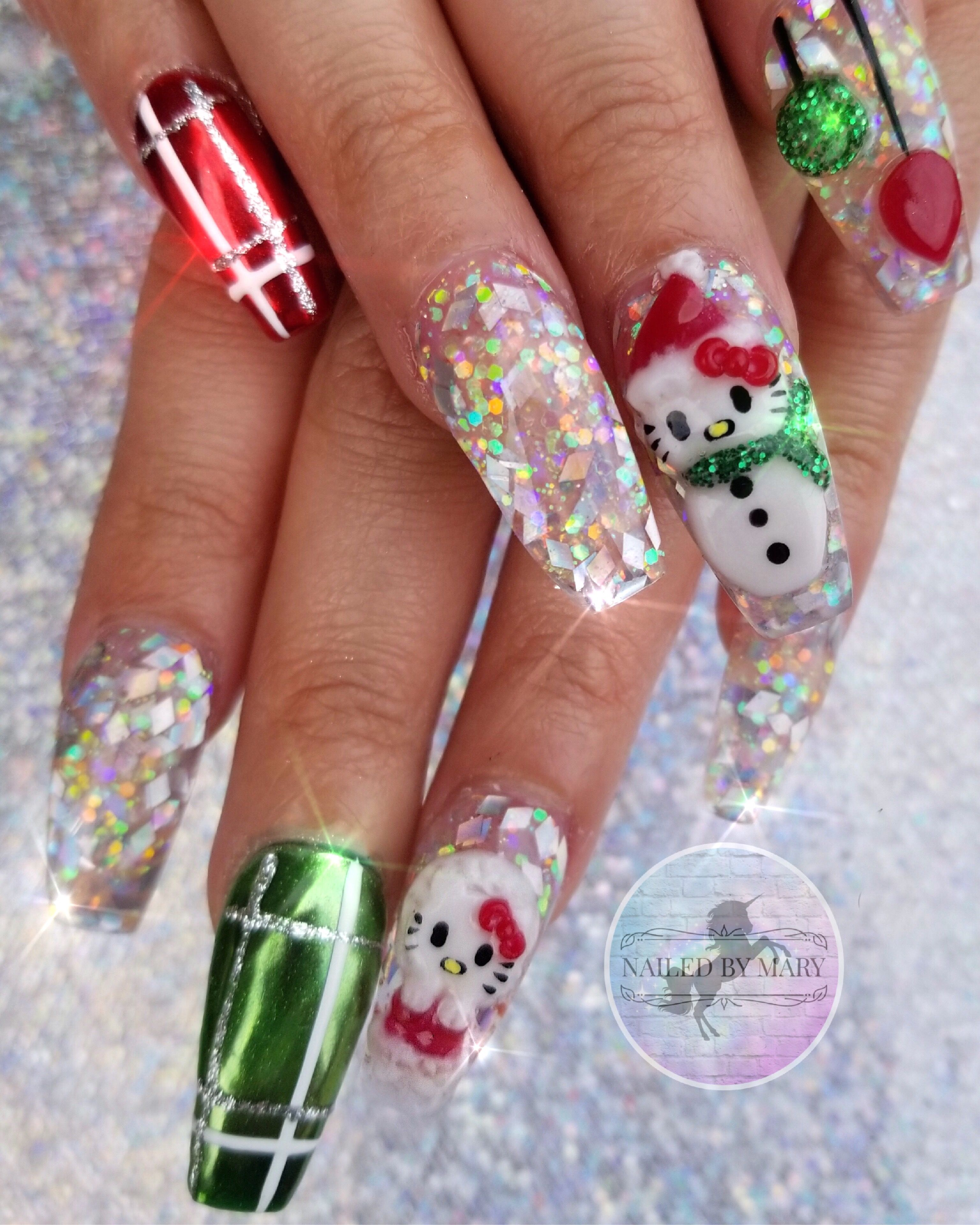 Christmas Holiday Winter Snowman Hello Kitty Presents Glitter Acrylic Ornaments Chrome 3d Nail Hello Kitty Christmas Hello Kitty Nails Holiday Nails Christmas