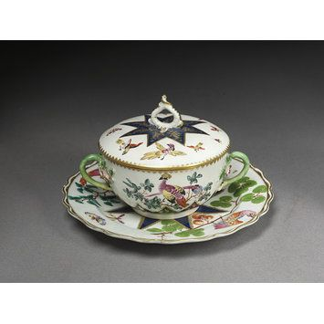 Tureen, cover and stand Place of origin:London, England (made)Date:ca. 1770-1775 (made)Artist/Maker:Bow Porcelain Factory (manufacturer)Materials and Techniques:Porcelain painted with enamels and gilded.