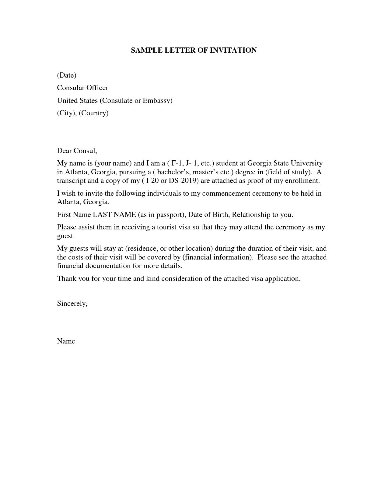 United States Visitor Visa Letter | SAMPLE LETTER OF INVITATION