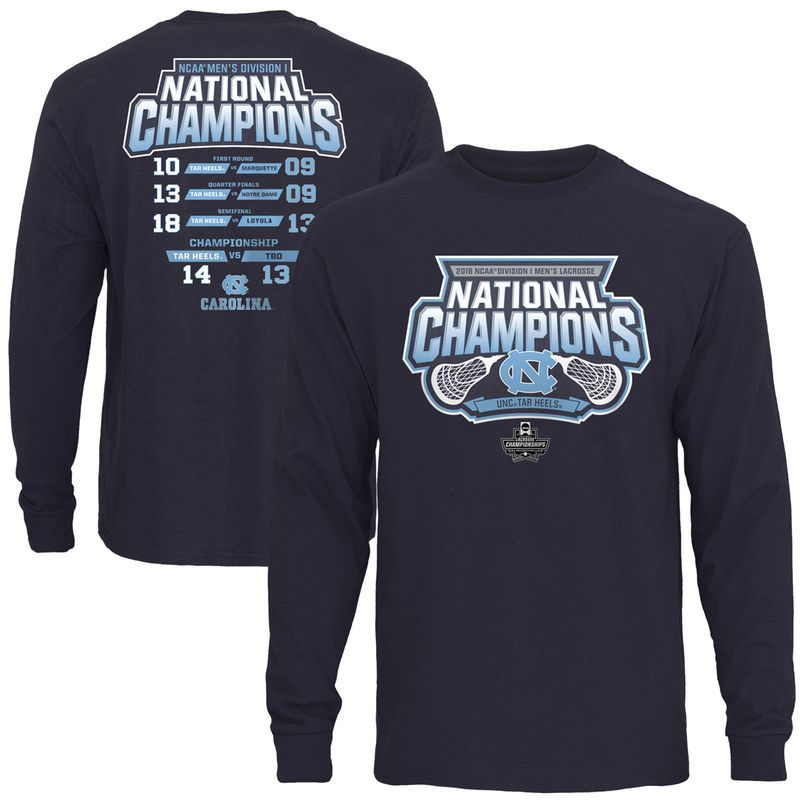 outlet store 82218 c513b North Carolina Tar Heels 2016 NCAA Men s Lacrosse National Champions Score  Long Sleeve T-Shirt - Navy