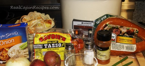 Photo of Smothered Potatoes with Sausage and Tasso Cooked Up in Rice Cooker   RealCajunRecipes.com: la cuisine de maw-maw!
