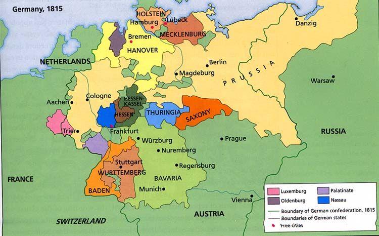 Map Of Germany 1815.Germany 1815 Rhineland Palatinate German Confederation Map
