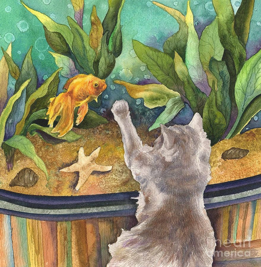 Fish tank painting - A Cat And A Fish Tank