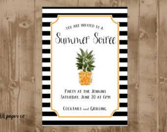 Printable Pinele Invitation Summer Party Bridal Or Wedding Shower S Dinner Welcome