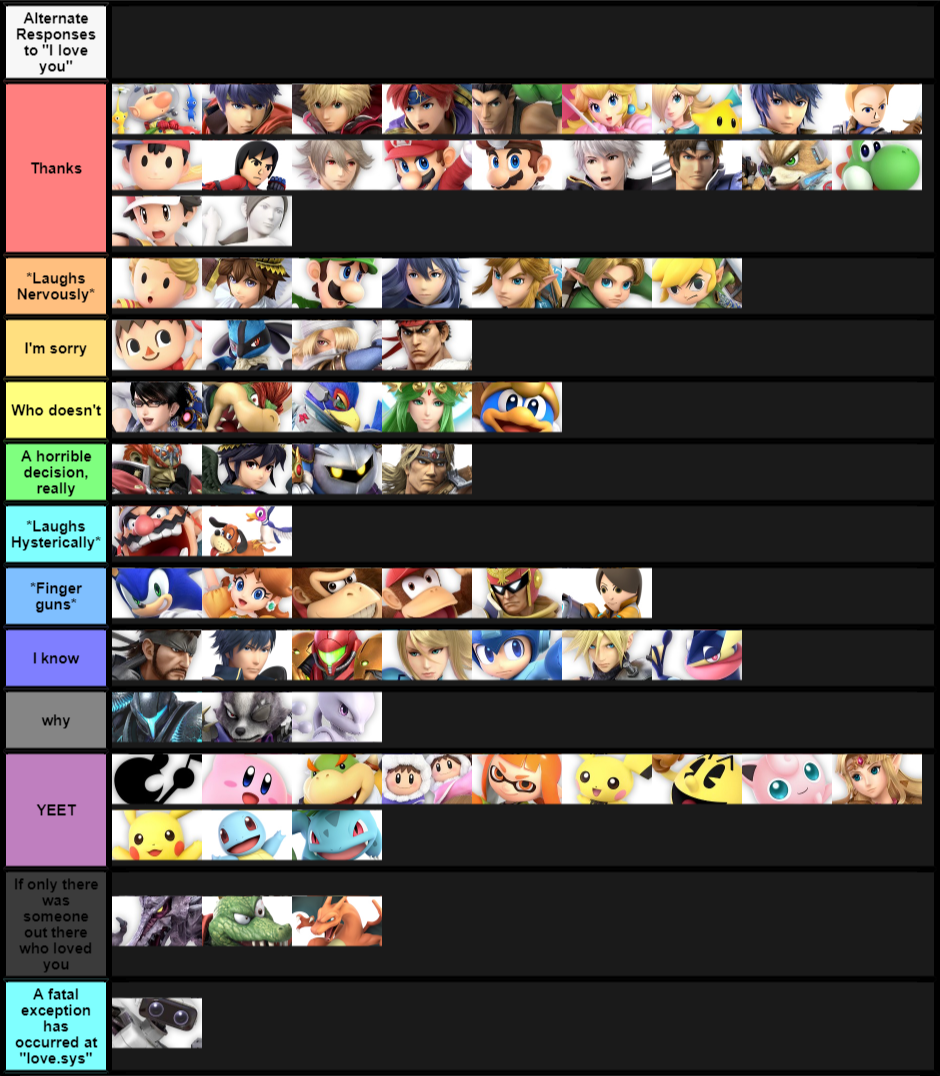 Alternative responses to I love you Ultimate   Smash ...
