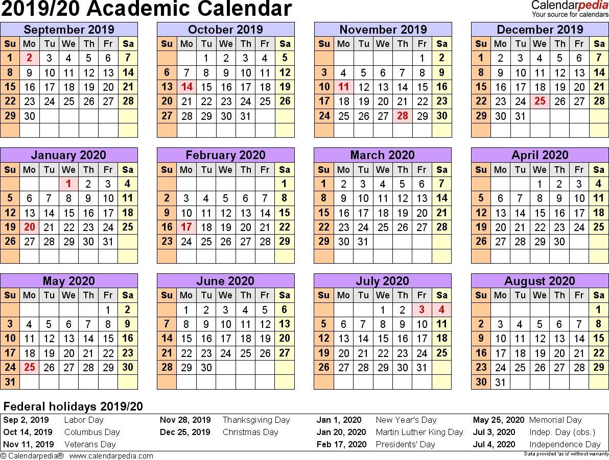 Calendar June 2019 To July 2020 Academic Calendar Calendar Printables Editable Calendar