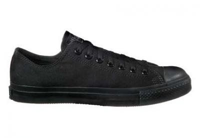 Converse Chuck Taylor All Star Lo Top Black Monochrome Canvas Shoes with Extra Pair of Grey Laces