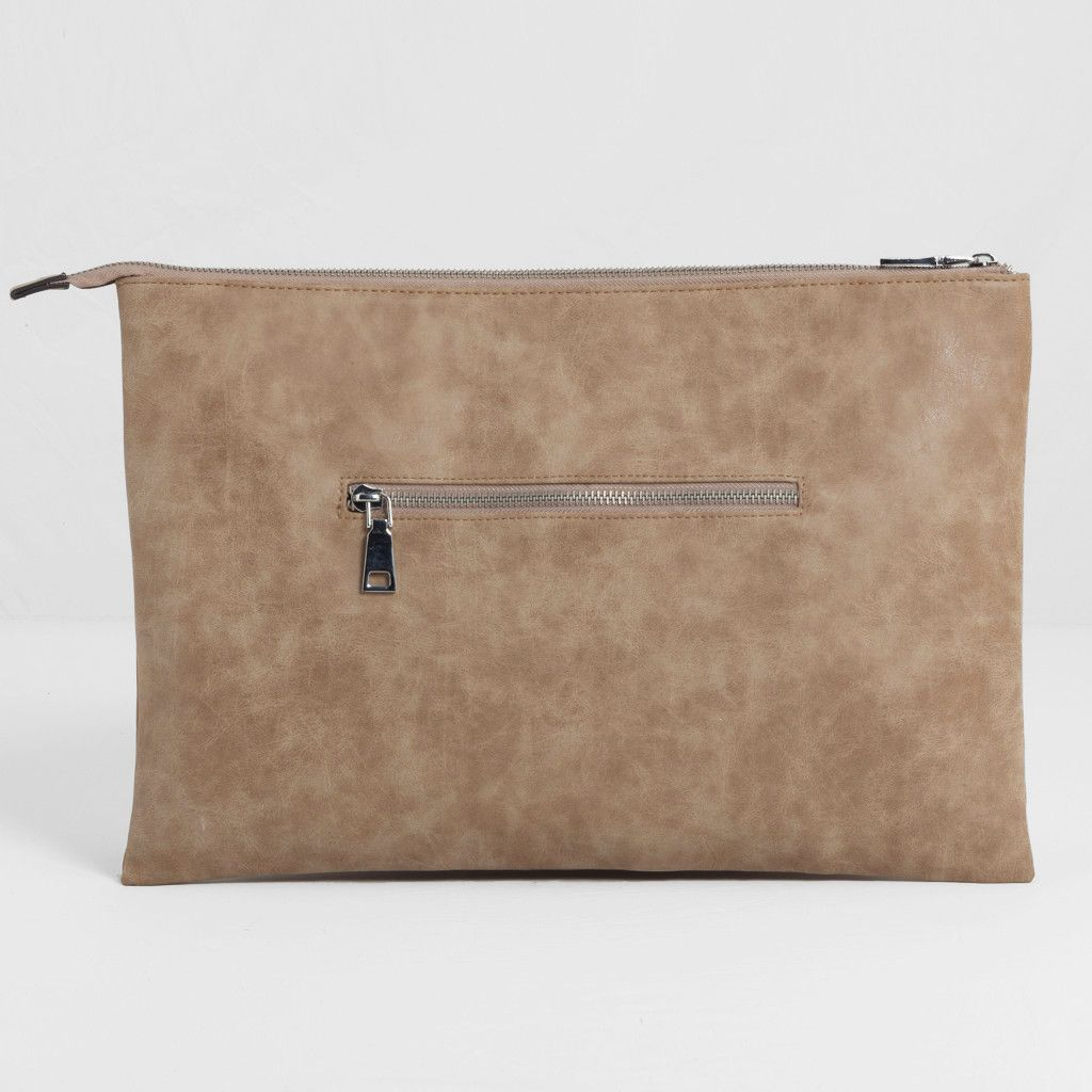 Suede-Effect Pocket Detail Clutch - Nude