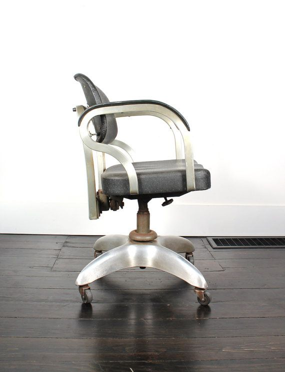 Vintage Metal Rolling Desk Chair J E