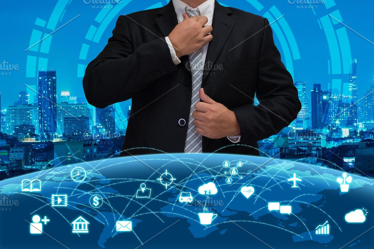 Business Man With The Technology Business Man Technology City Background