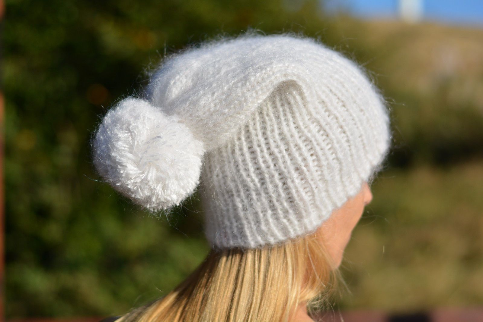 Mohair Hat Hand Knitted Ski Cap Fuzzy Thick One Size Mohair Beanie Dukyana White | eBay