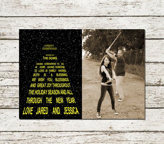 Star Wars Christmas Photo Greeting Card Printable Custom Holiday Digital File Geek Christmas Photo Greeting Cards Star Wars Christmas Printable Greeting Cards