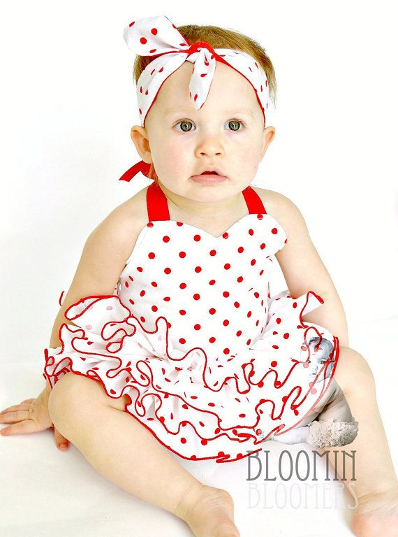 Ruffle Fitted Top  Red White Polka Dots for by BloominBloomers