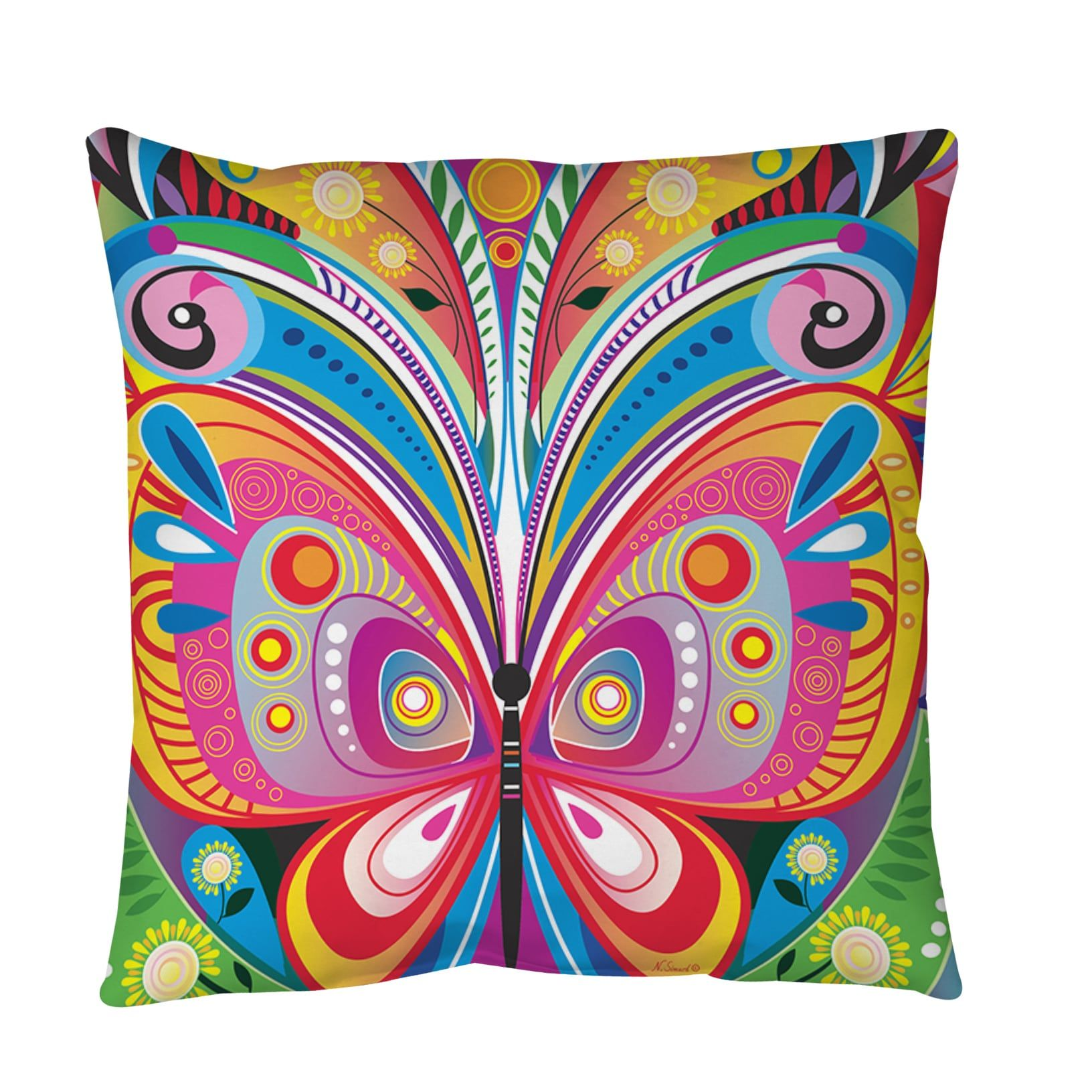 Weavers Pattern Butterfly Throw or Floor Pillow (28 inch x 28 inch ...