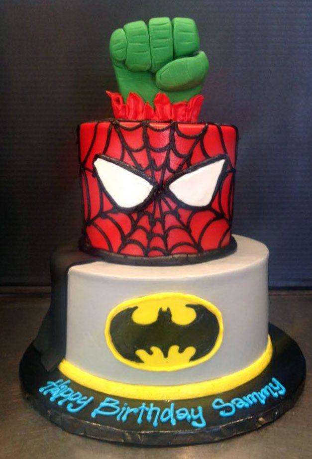 Superhero Incredible Hulk Spiderman Batman birthday cake Gala