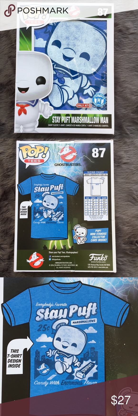 🎁 Pop! Tees Stay Puft Marshmallow Man Stay Puft Marshmallow Man Limited Edition unisex t-shirt Has a mix of blues & white to creat this fun Ghostbusters print. Boxed short sleeve t-shirt is 65% Polyester & 35% Cotton. In excellent new condition and never opened. NWT Funko Shirts Tees - Short Sleeve