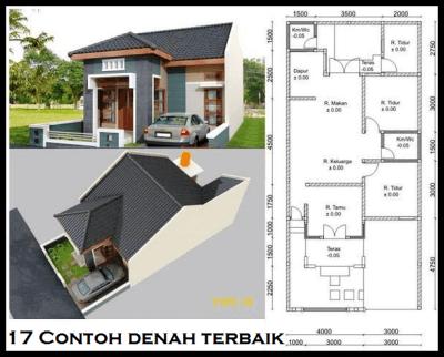 denah rumah minimalis 2 lantai ukuran 7x15 | denah rumah