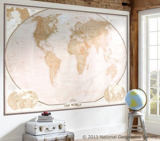 National geographic world map murals pottery barn kids kids national geographic world map murals pottery barn kids gumiabroncs Gallery
