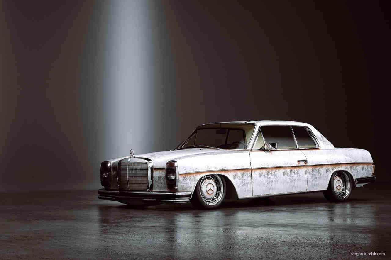 Classic slammed Mercedes.