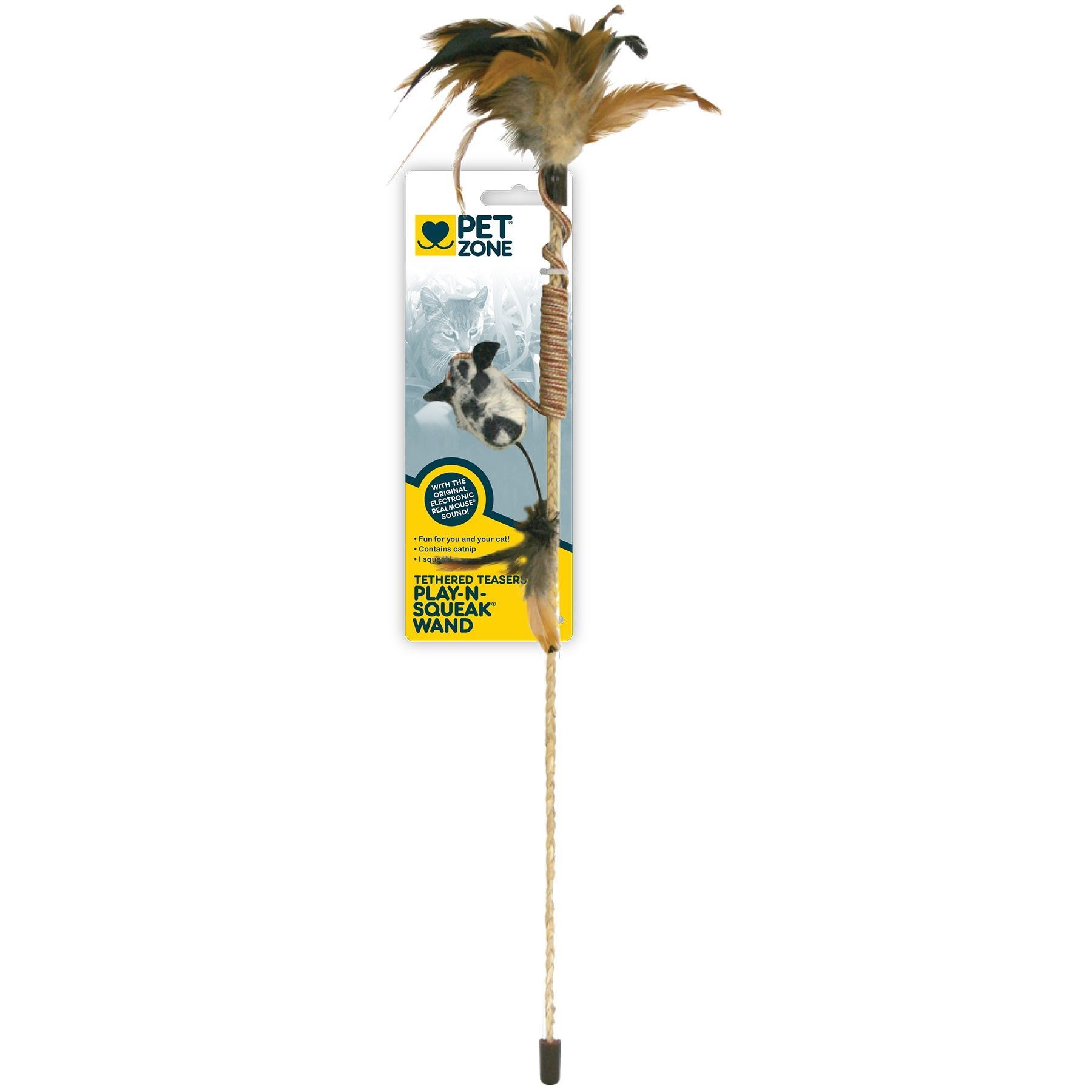 Pet Zone Tethered Tresures Play N Squeak Wand Cat Toy