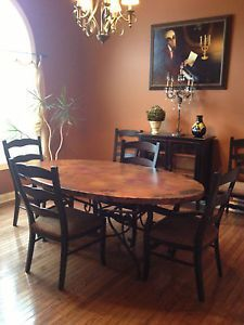 Arhaus Copper Dining Room Table And 6 Chairs