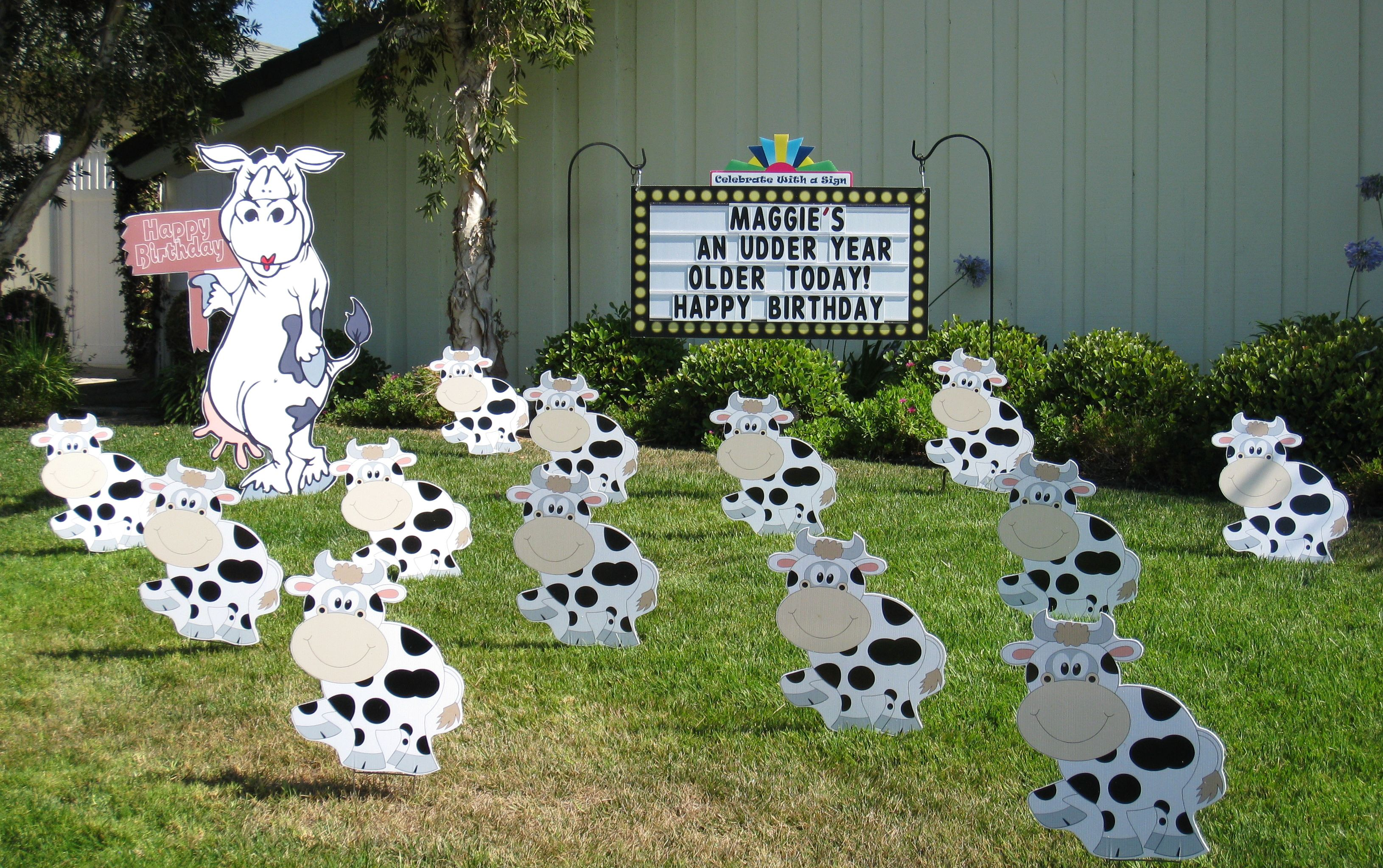 Birthday Cow Lawn Prank Gn Says Maggie S An Udder Year