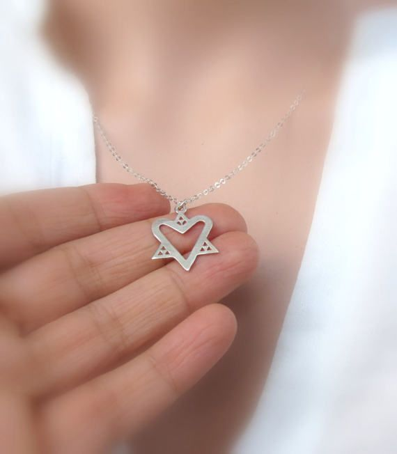 Sterling silver star of david heart heart and star of david pendant sterling silver star of david heart heart and star of by zmirarts aloadofball Image collections