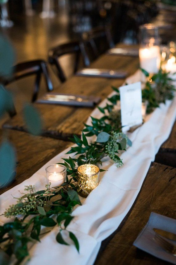 Photo of Winter Wedding Table Centerpieces of gauze runner Sand Ceremony cotton runner Rustic decor cheesecloth runner