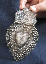 ANTIQUE STERLING SILVER EX VOTO SACRED HEART - 19thC