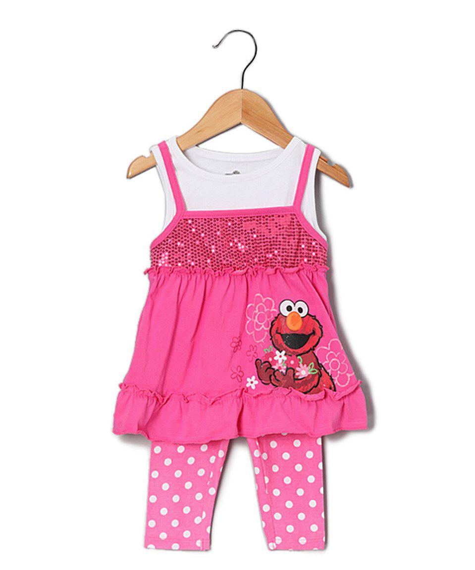 Love this Sesame Street Elmo Polka Dot Layered Tunic & Leggings - Toddler by Sesame Street on #zulily! #zulilyfinds