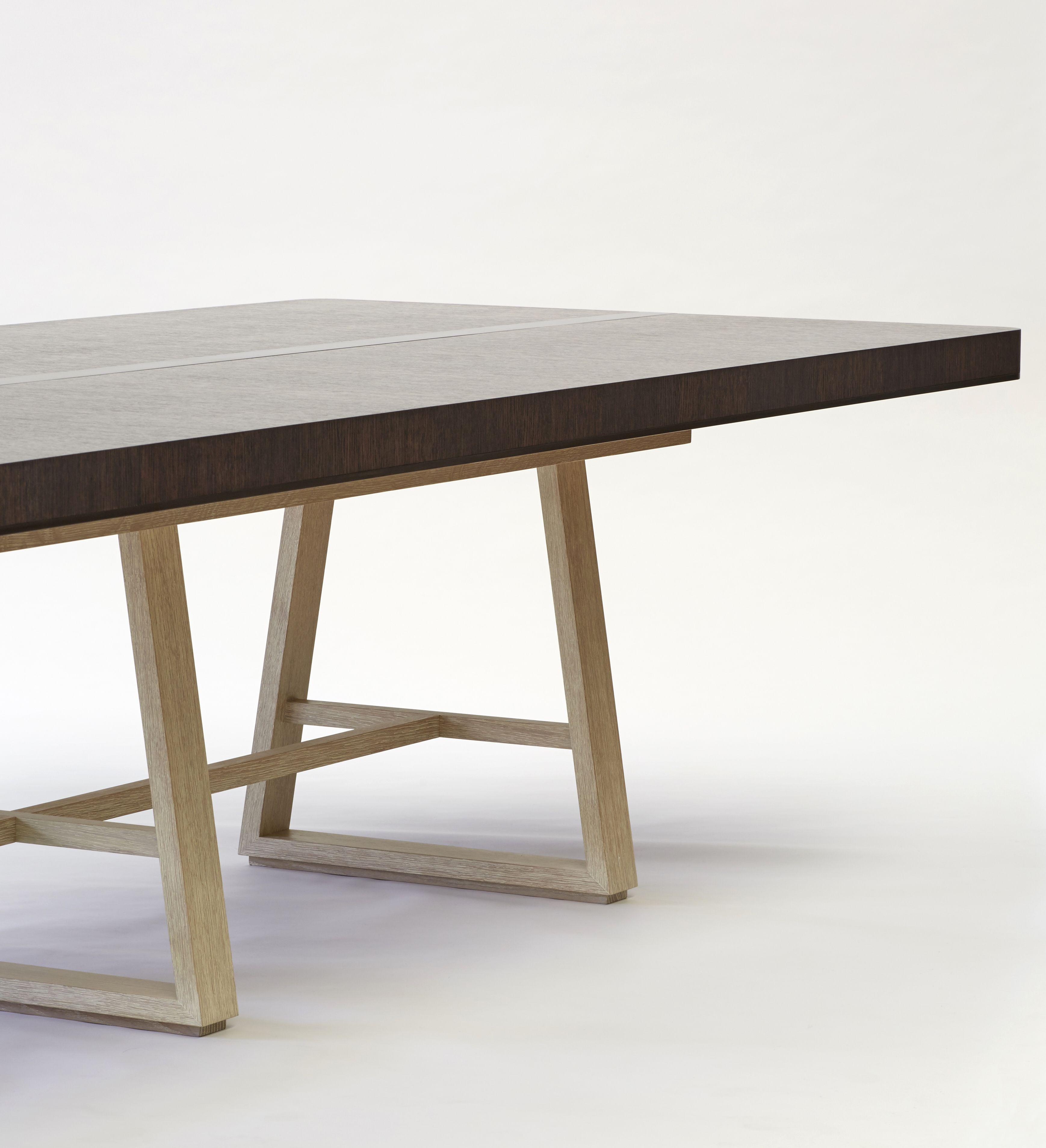 Limed oak base with dark stained oak tabletop