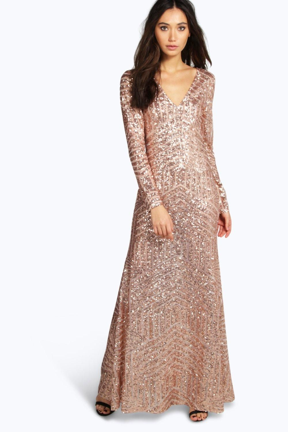 72d68e18f603c boohoo Boutique Mia Sequin Mesh Plunge Neck Maxi Dress - nude $70.00 AT  vintagedancer.com