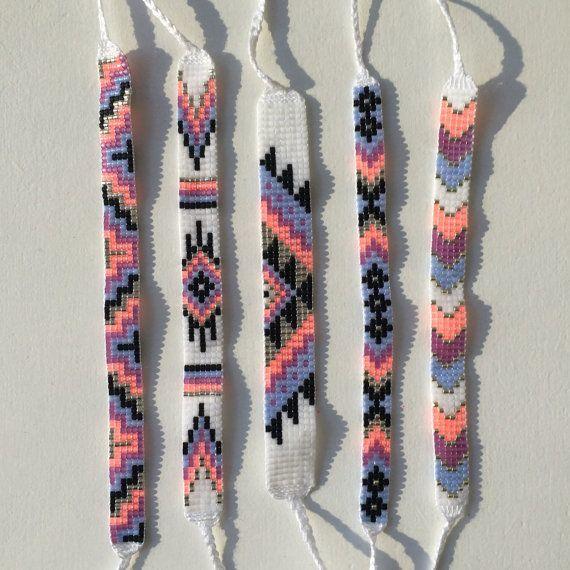 Seed Bead Friendship Bracelet - Silver, Neon Peach, Orchid, Periwinkle #friendshipbracelets