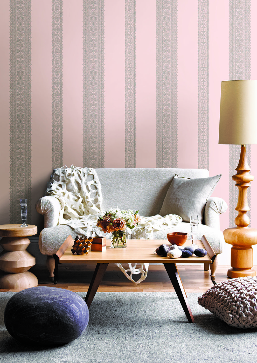 Pretty pink lace effect striped wallpaper design by Albany