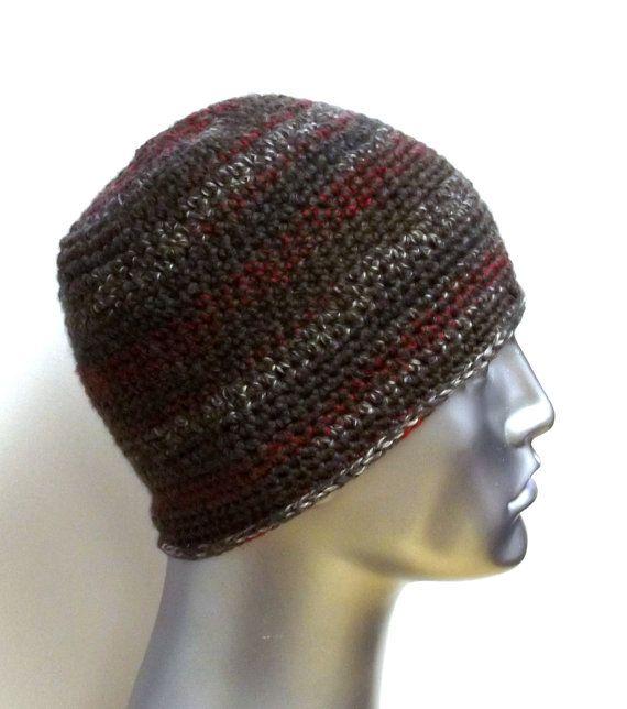 Multicolor Gray Red Crochet Wool Beanie Hat   Männer