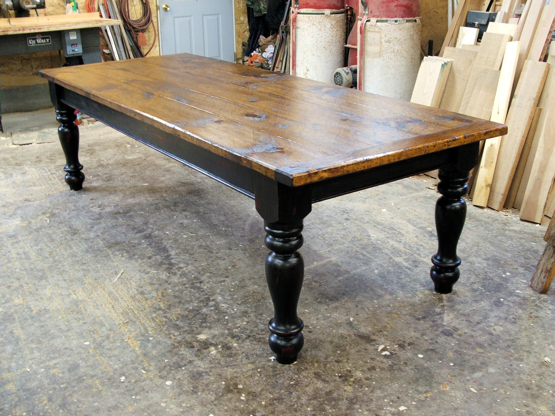 Farmhouse black tables pine farmhouse table with options for Large dark wood dining table