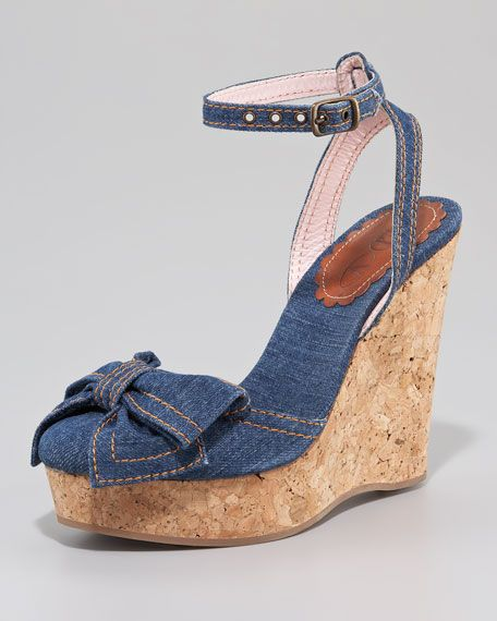 60a2f35dc4d RED Valentino denim and cork wedges